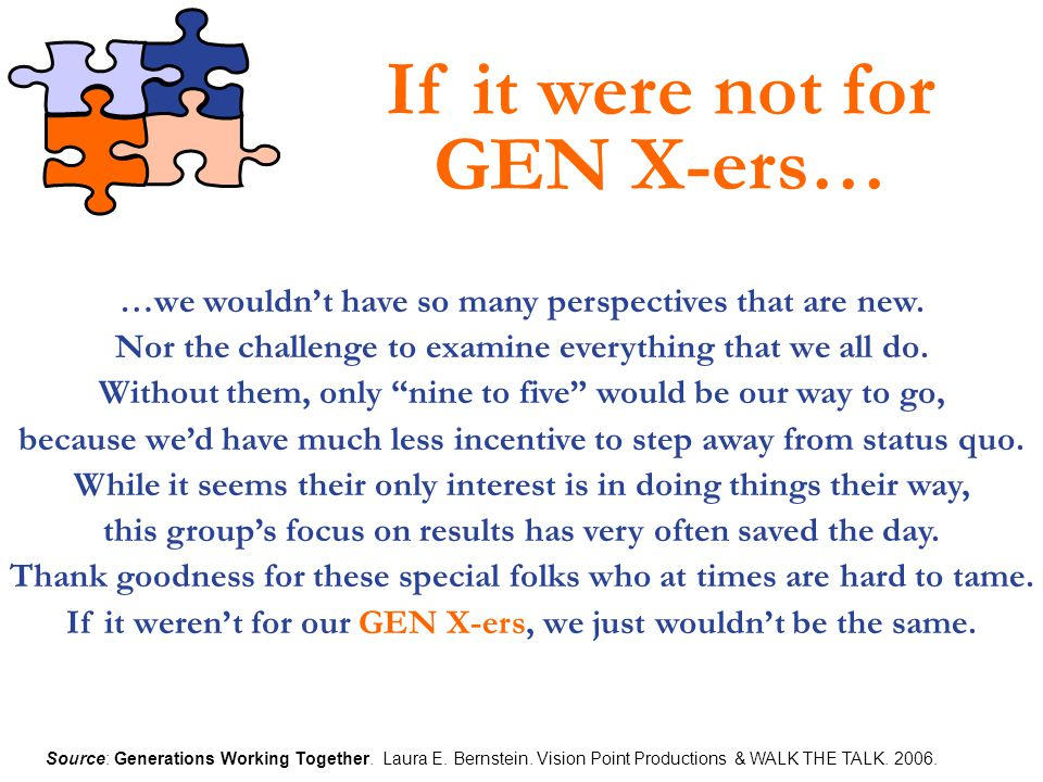 If it were not for GEN X-ers…