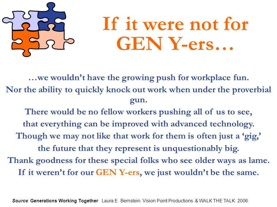 If it were not for GEN Y-ers…