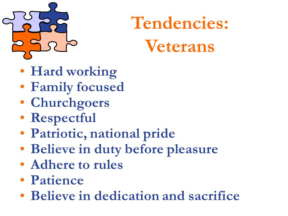 Tendencies: Veterans Hard working Family focused Churchgoers