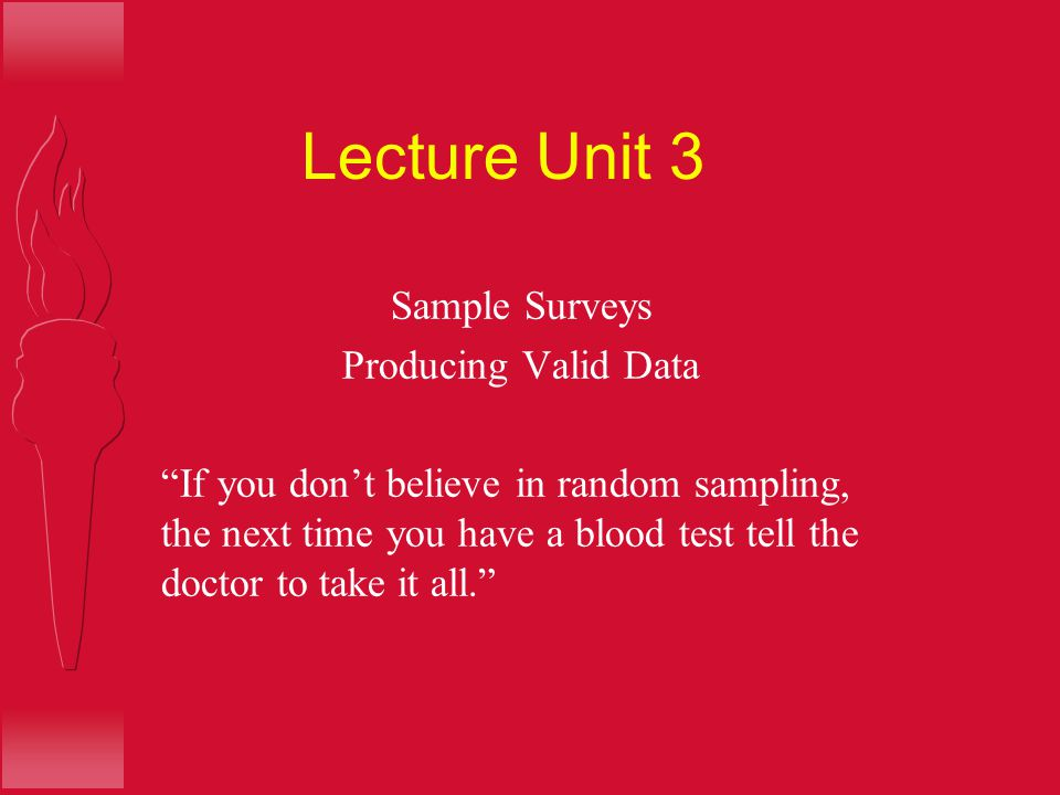 Lecture Unit 3 Sample Surveys Producing Valid Data