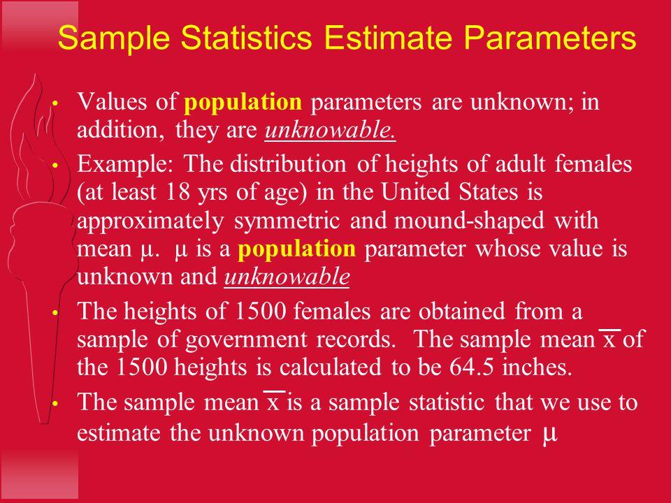 Sample Statistics Estimate Parameters