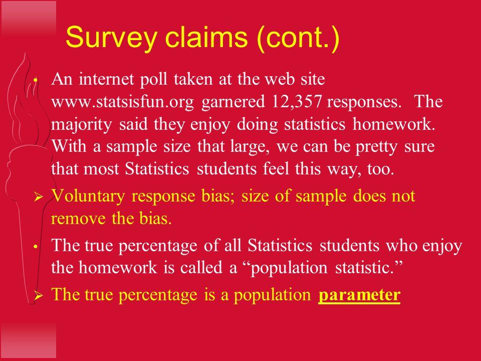 Survey claims (cont.)
