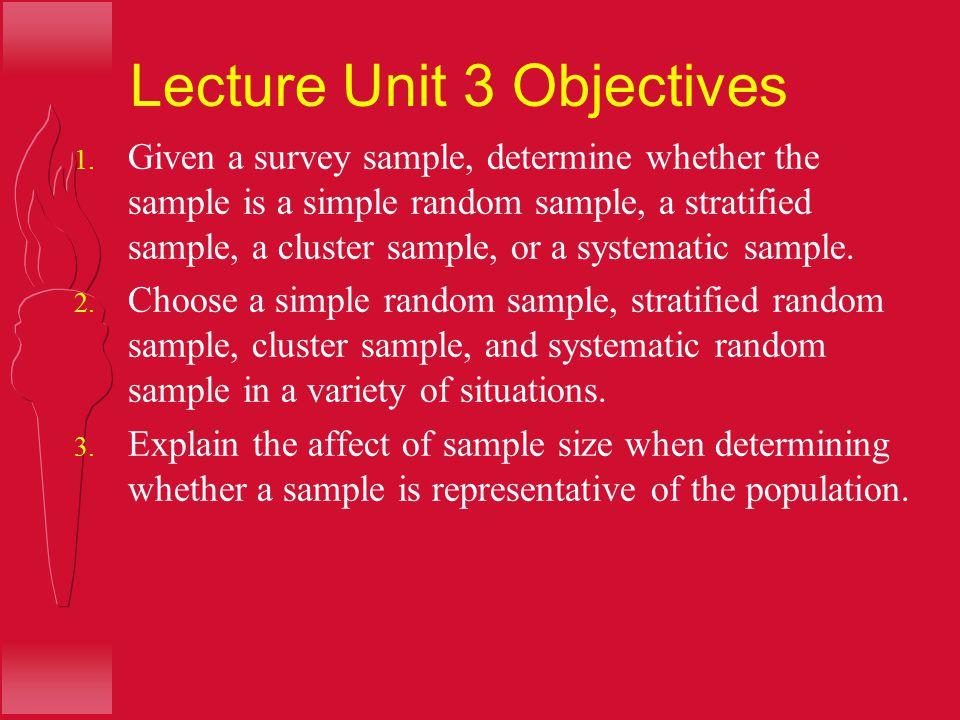 Lecture Unit 3 Objectives