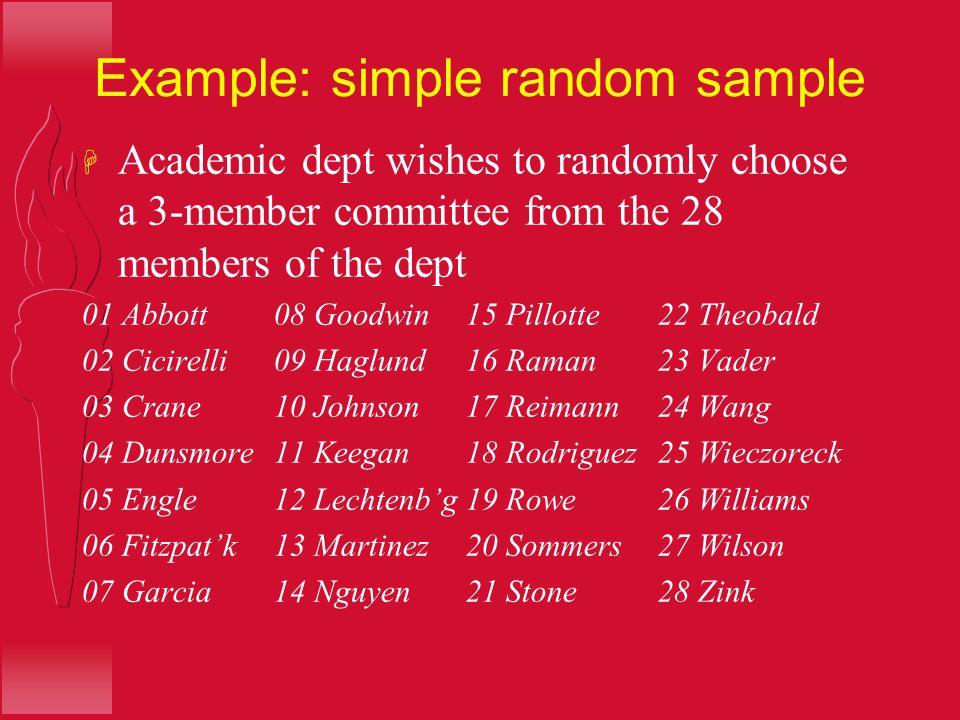 Example: simple random sample