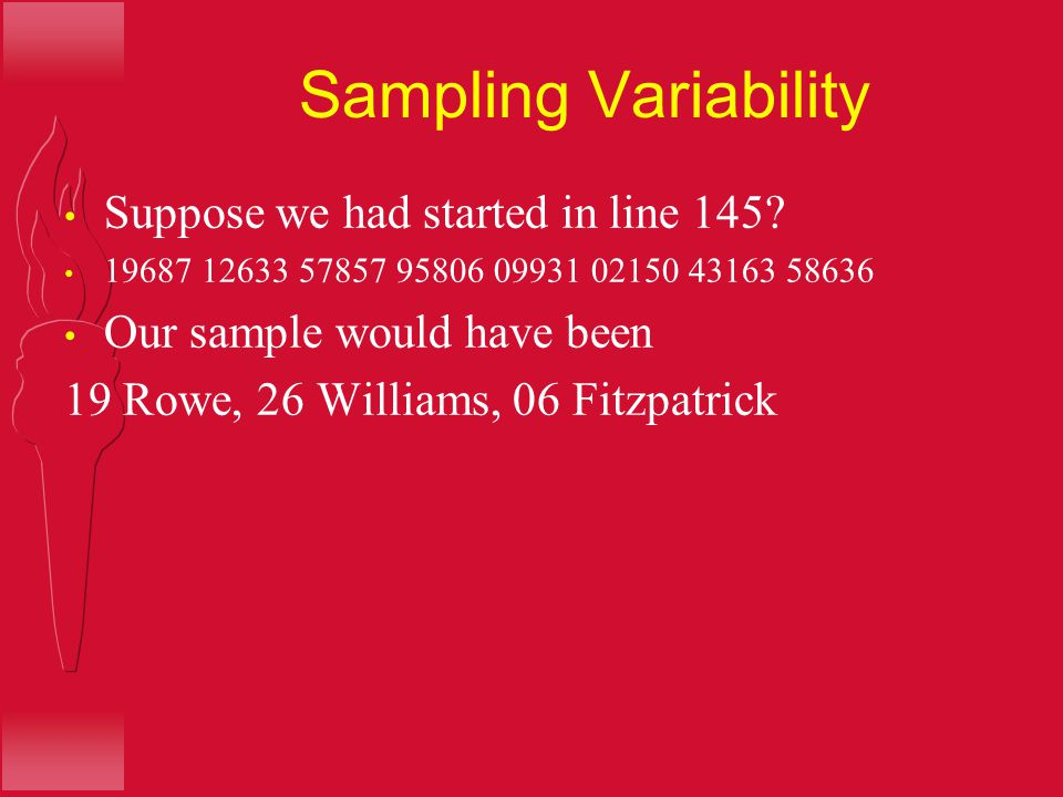 Sampling Variability Suppose we had started in line 145