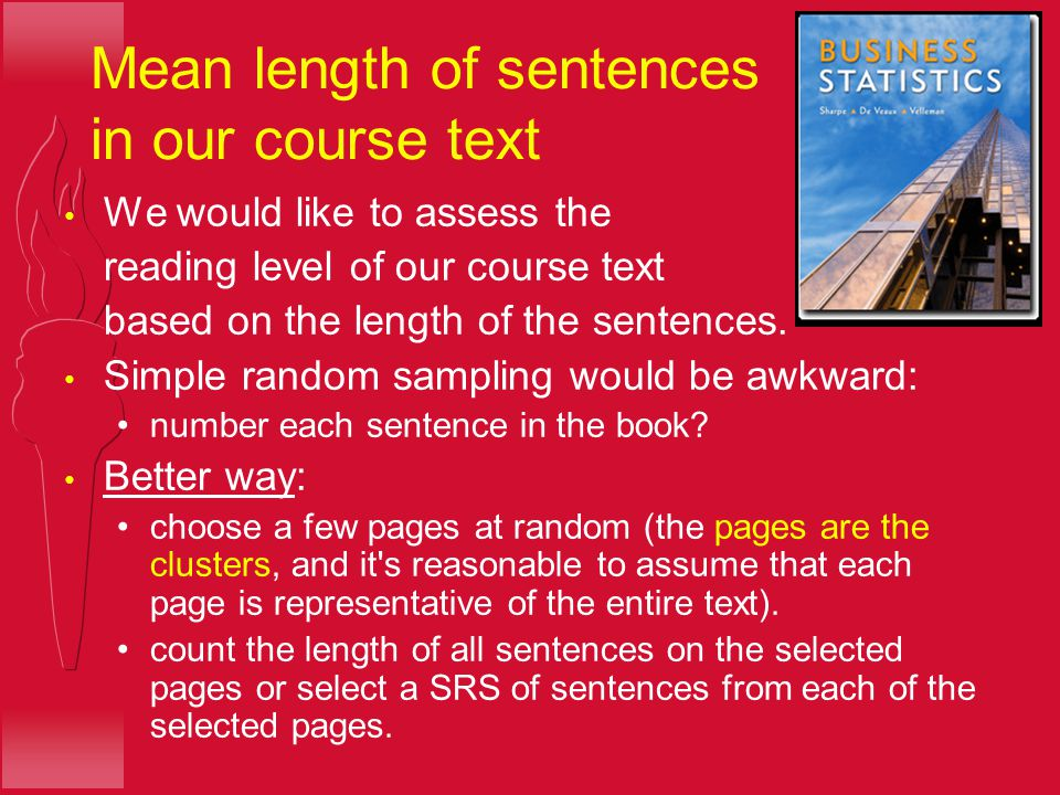 Mean length of sentences in our course text