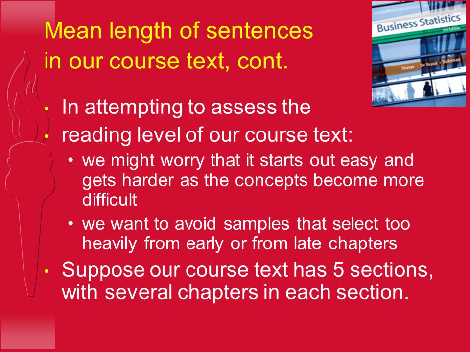 Mean length of sentences in our course text, cont.