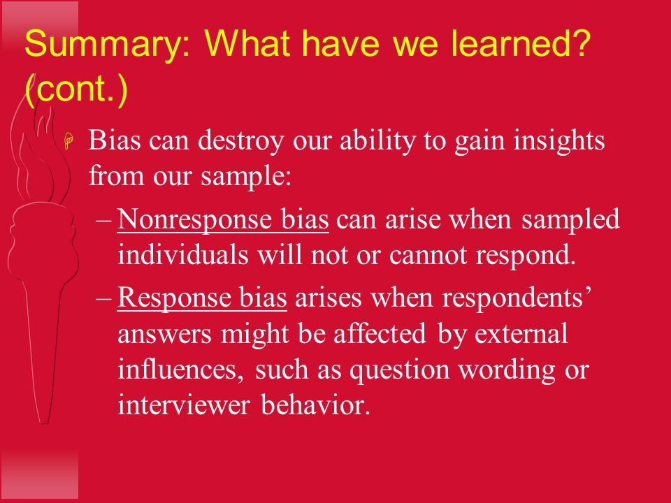 Summary: What have we learned (cont.)