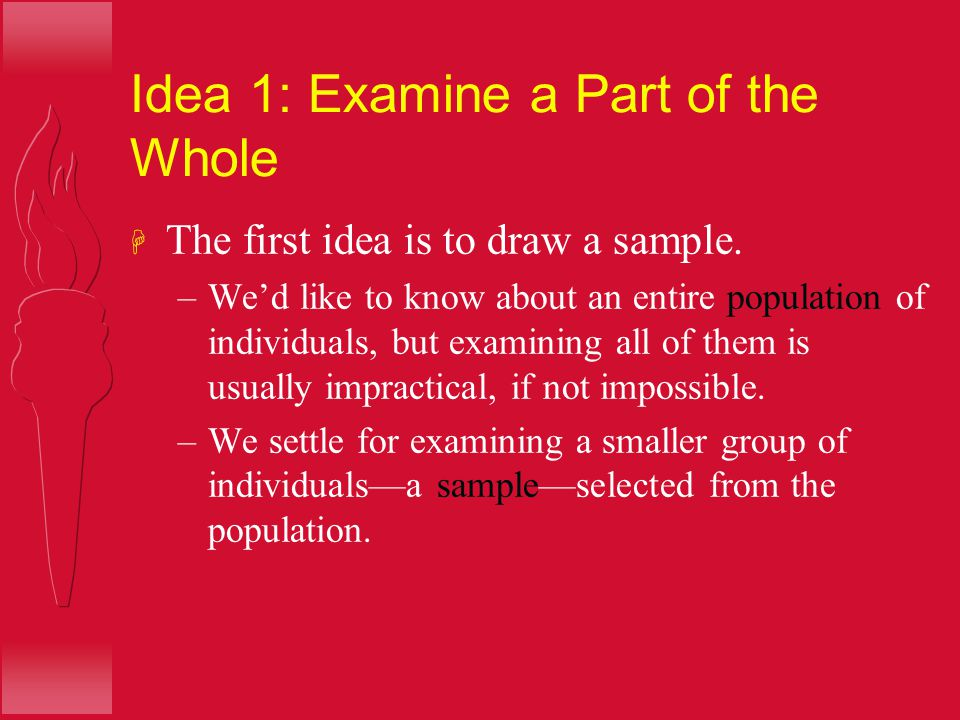 Idea 1: Examine a Part of the Whole