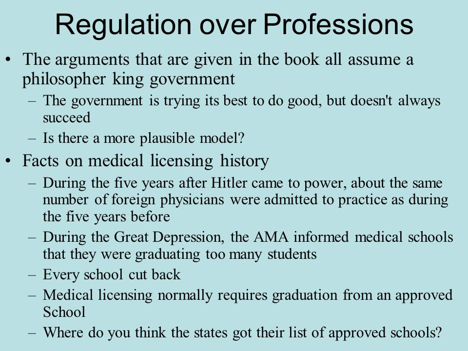 Regulation over Professions