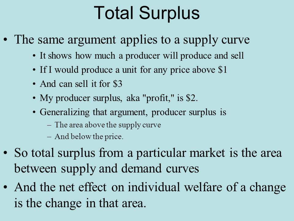 Total Surplus The same argument applies to a supply curve