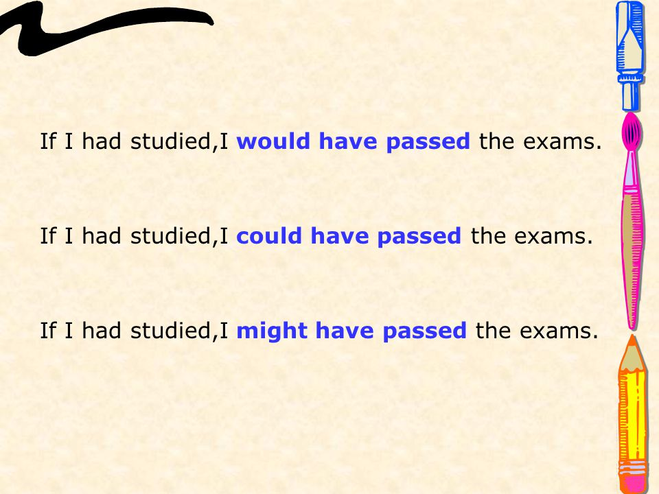 If I had studied,I would have passed the exams.