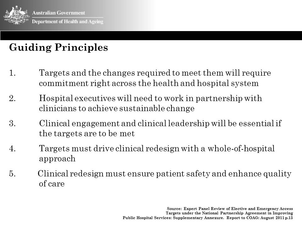 Guiding Principles Targets and the changes required to meet them will require commitment right across the health and hospital system.