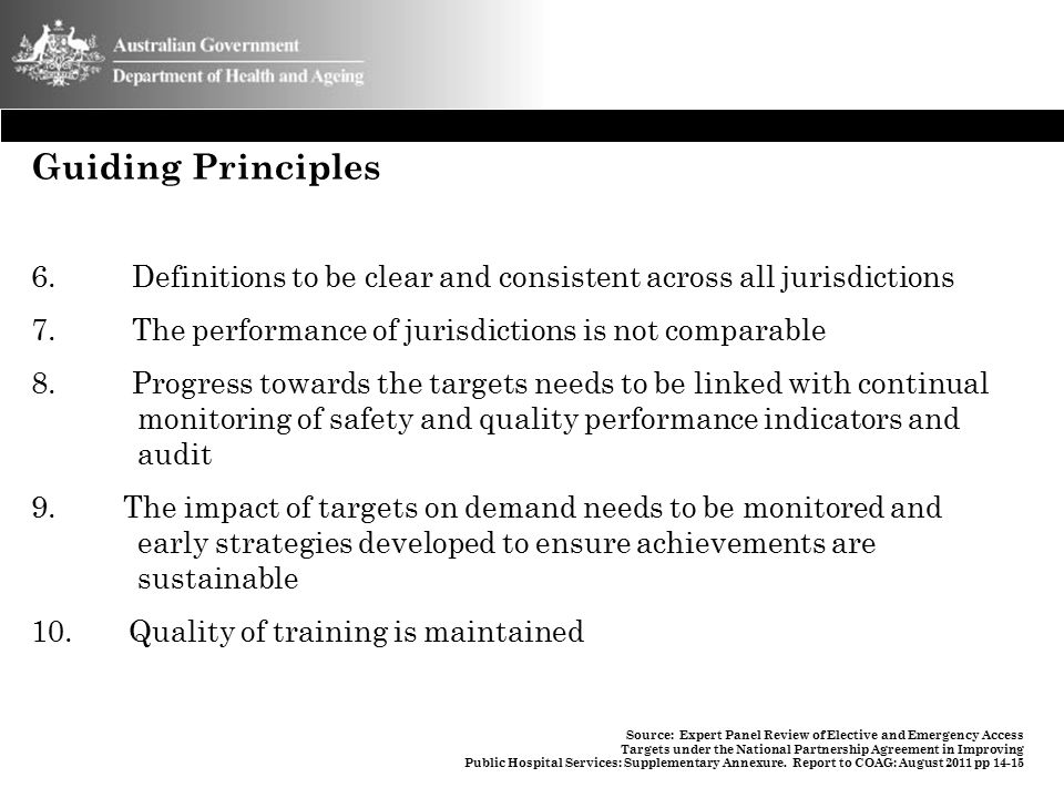 Guiding Principles Definitions to be clear and consistent across all jurisdictions. The performance of jurisdictions is not comparable.