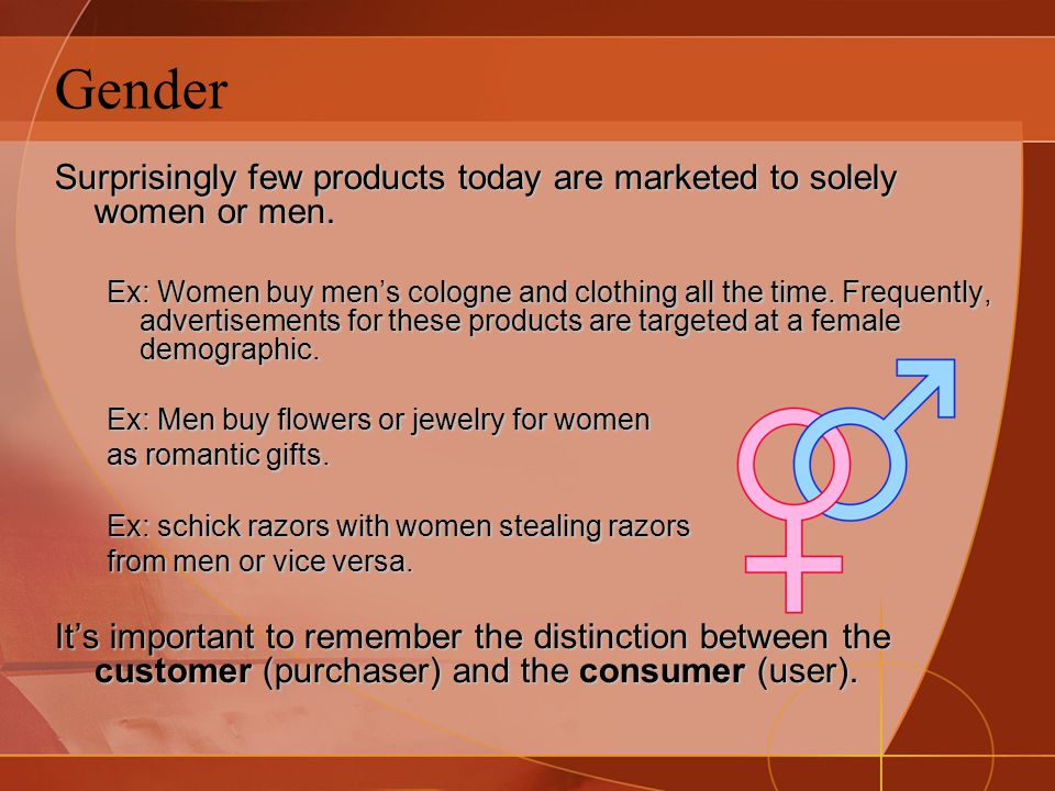 Gender Surprisingly few products today are marketed to solely women or men.