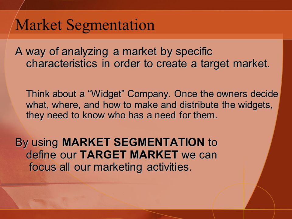 an analysis of a certain target market Target market a number of factors are considered in selecting the ideal target market for a given campaign in general, the goal is to go after the market that offers the best current or long-term profit potential.
