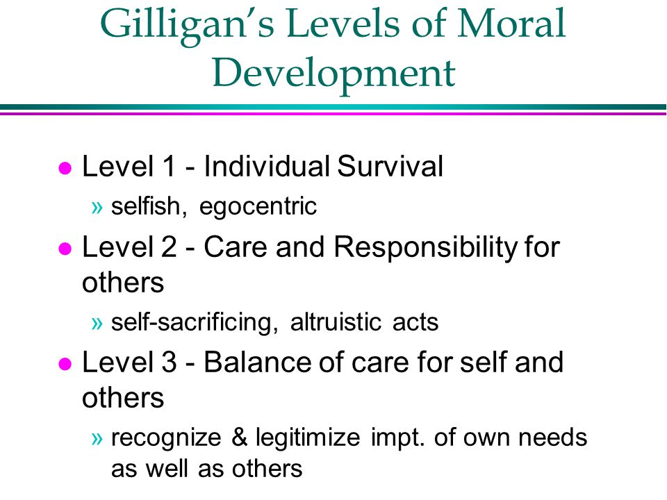 Gilligan's Levels of Moral Development