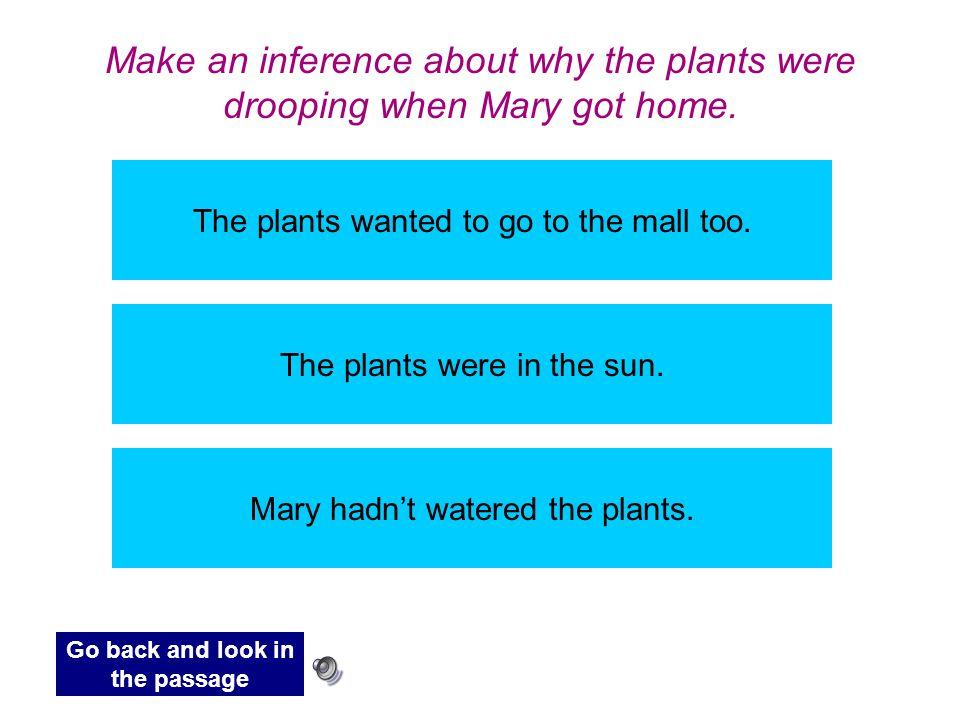 Make an inference about why the plants were drooping when Mary got home.