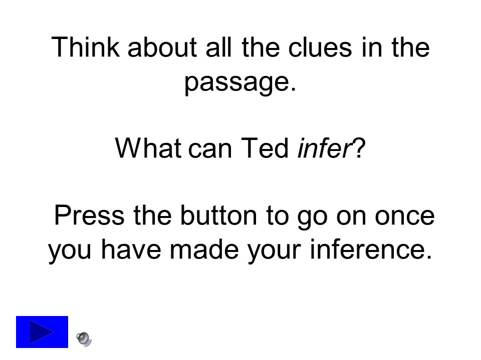 Think about all the clues in the passage. What can Ted infer