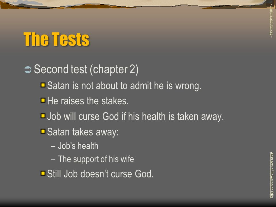 The Tests Second test (chapter 2)