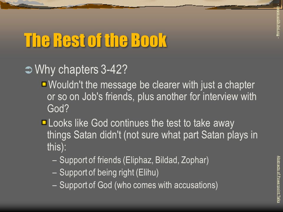 The Rest of the Book Why chapters 3-42