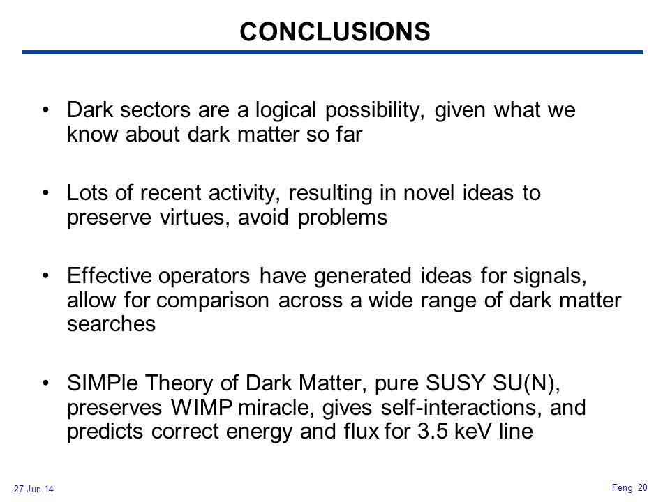 CONCLUSIONS Dark sectors are a logical possibility, given what we know about dark matter so far.