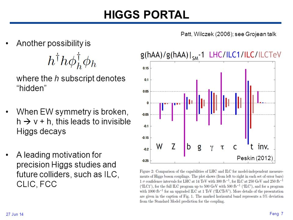 HIGGS PORTAL Another possibility is