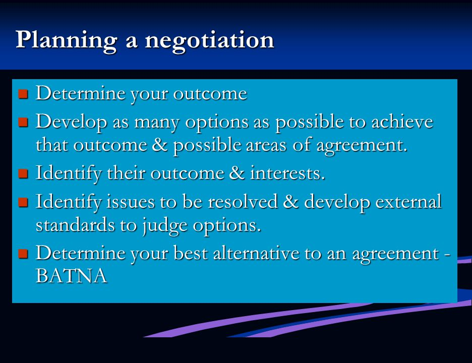 Planning a negotiation