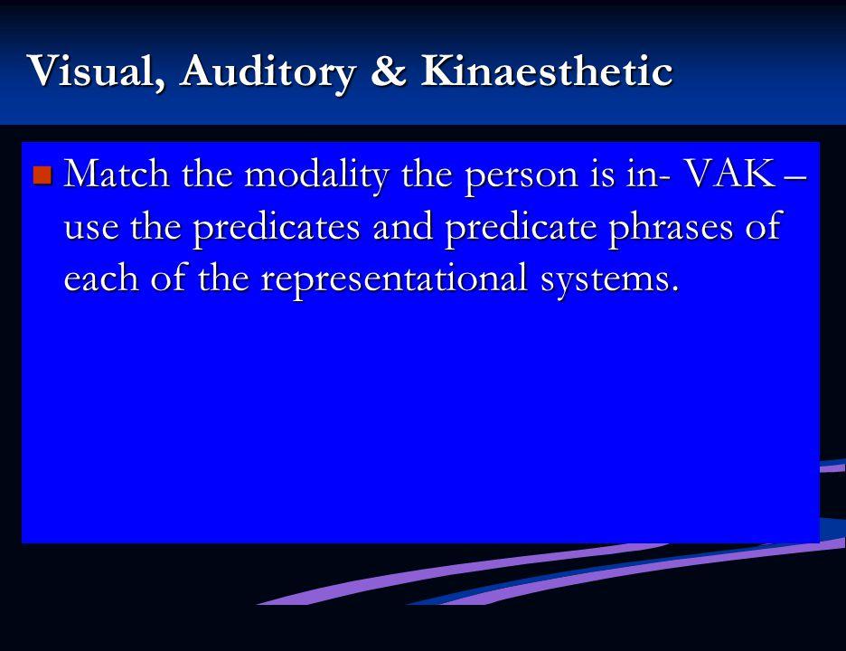 Visual, Auditory & Kinaesthetic