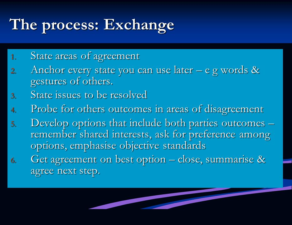 The process: Exchange State areas of agreement