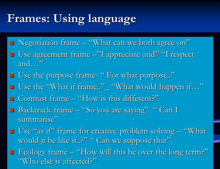Frames: Using language