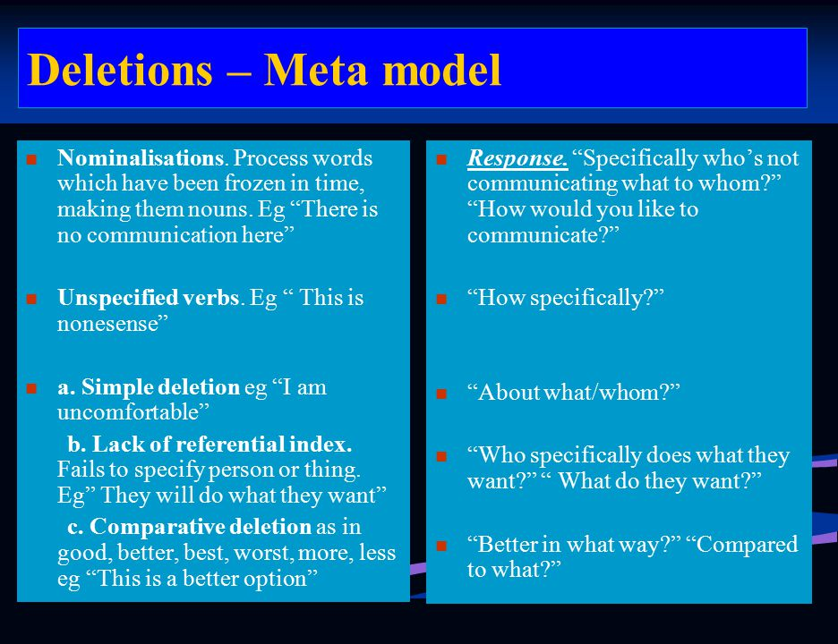 Deletions – Meta model Nominalisations. Process words which have been frozen in time, making them nouns. Eg There is no communication here