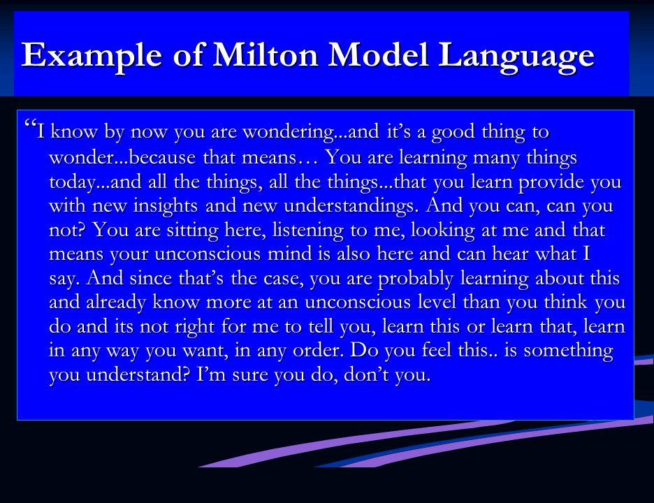 Example of Milton Model Language