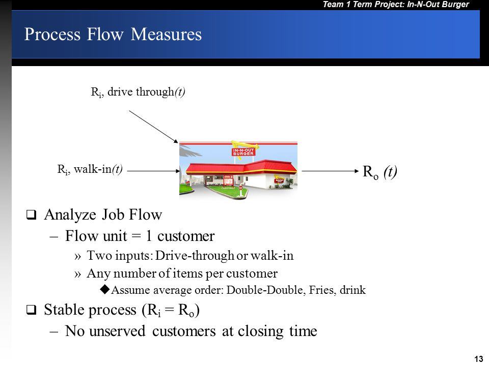 Process Flow Measures Ro (t) Analyze Job Flow Flow unit = 1 customer