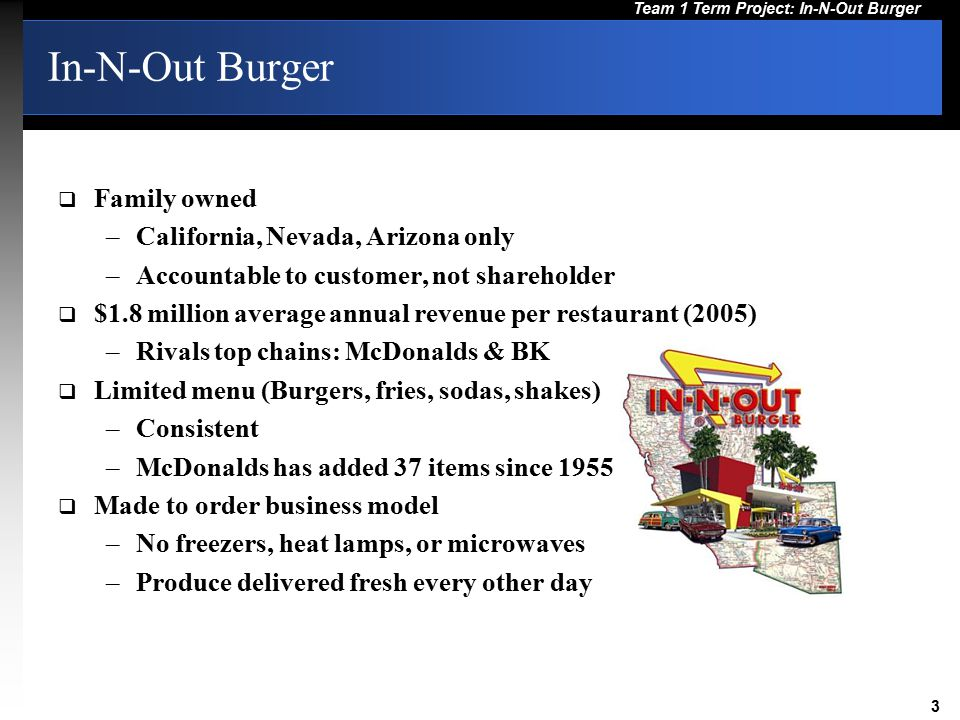 In-N-Out Burger Family owned California, Nevada, Arizona only