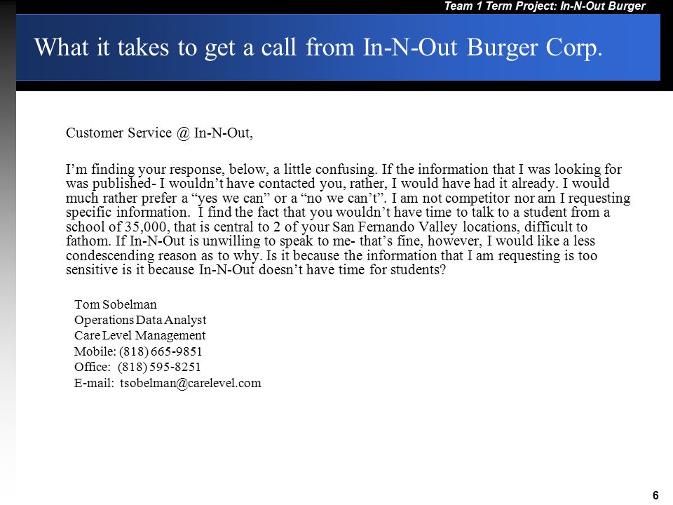 What it takes to get a call from In-N-Out Burger Corp.