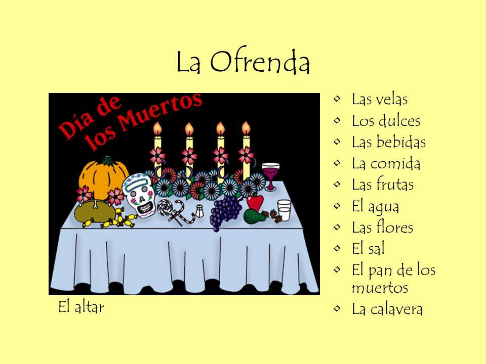 La Ofrenda Las velas Los dulces Las bebidas La comida Las frutas