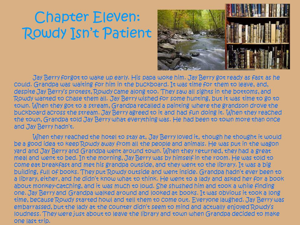 Chapter Eleven: Rowdy Isn't Patient