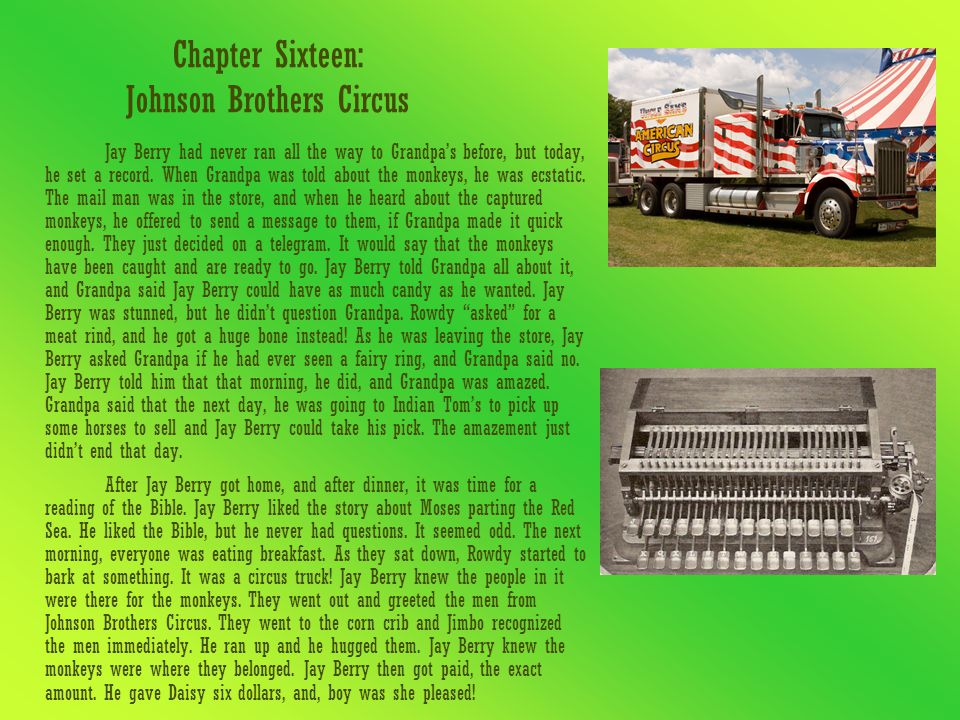 Chapter Sixteen: Johnson Brothers Circus