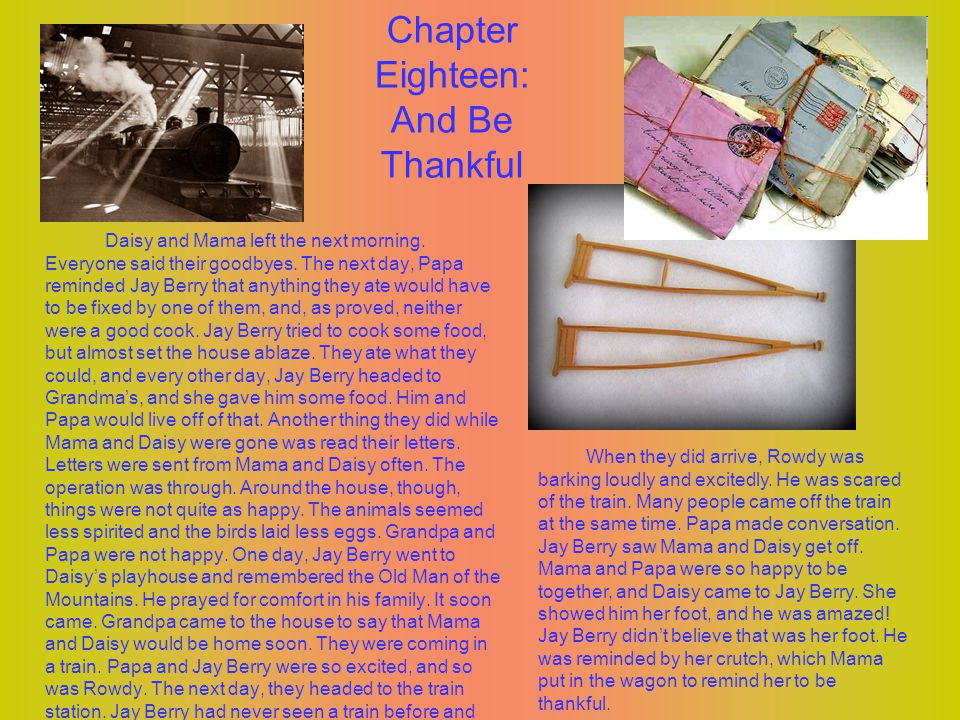 Chapter Eighteen: And Be Thankful