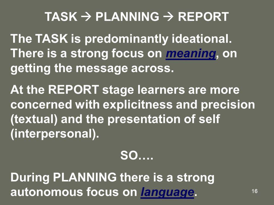TASK  PLANNING  REPORT