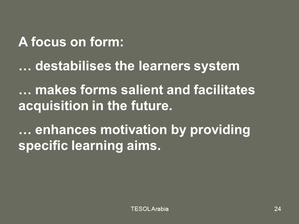 … destabilises the learners system