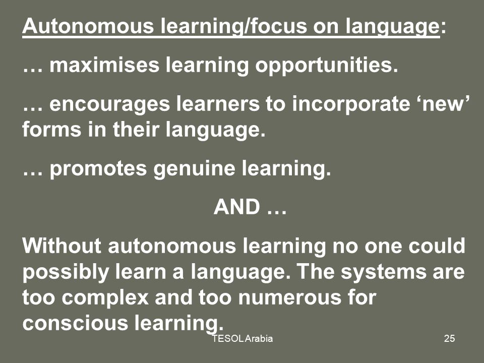Autonomous learning/focus on language: