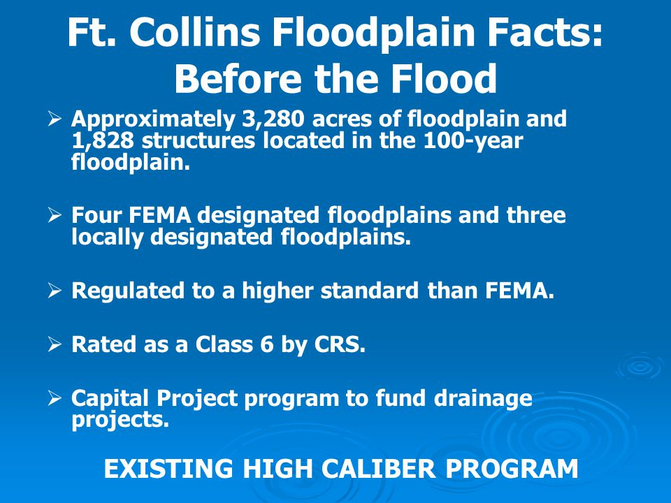 Ft. Collins Floodplain Facts: Before the Flood
