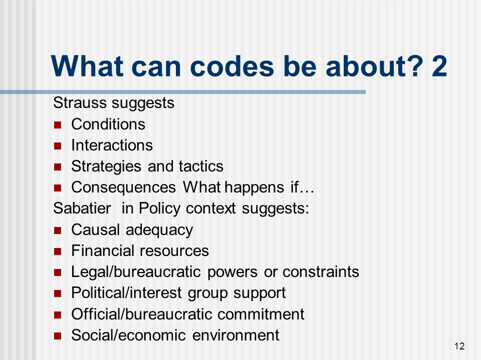 What can codes be about 2 Strauss suggests Conditions Interactions