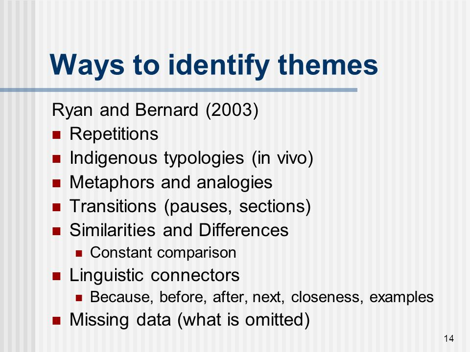 Ways to identify themes