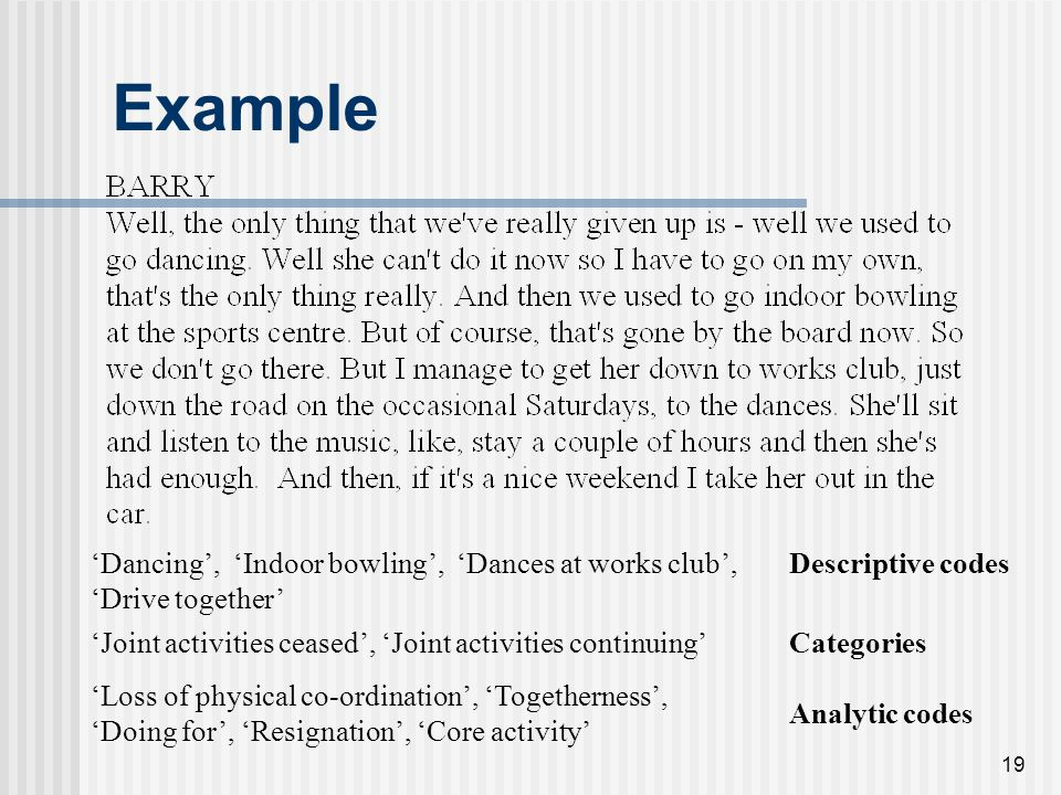 Example 'Dancing', 'Indoor bowling', 'Dances at works club', 'Drive together' Descriptive codes.