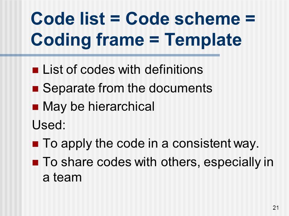 Code list = Code scheme = Coding frame = Template