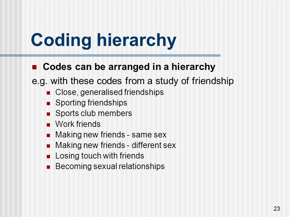 Coding hierarchy Codes can be arranged in a hierarchy