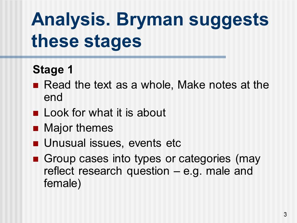 Analysis. Bryman suggests these stages